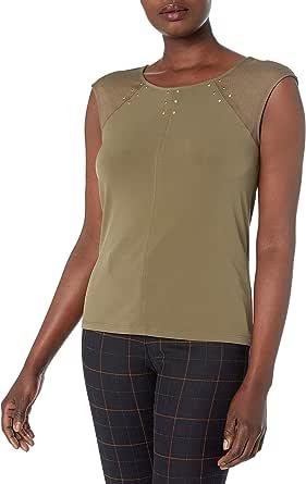 CALVIN KLEIN Women's Sleeveless Wrap Top with Hardware