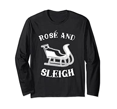 78a48b49a Unisex Rose And Sleigh Long Sleeve Shirt | Christmas Wine Drinkers Small  Black