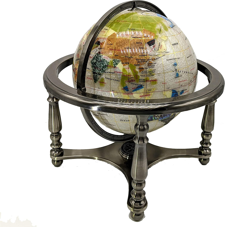 "Unique Art 13"" Tall 9"" Diameter Pearl Powder Ocean Desktop 4-Leg Silver Stand Gemstone Globe"