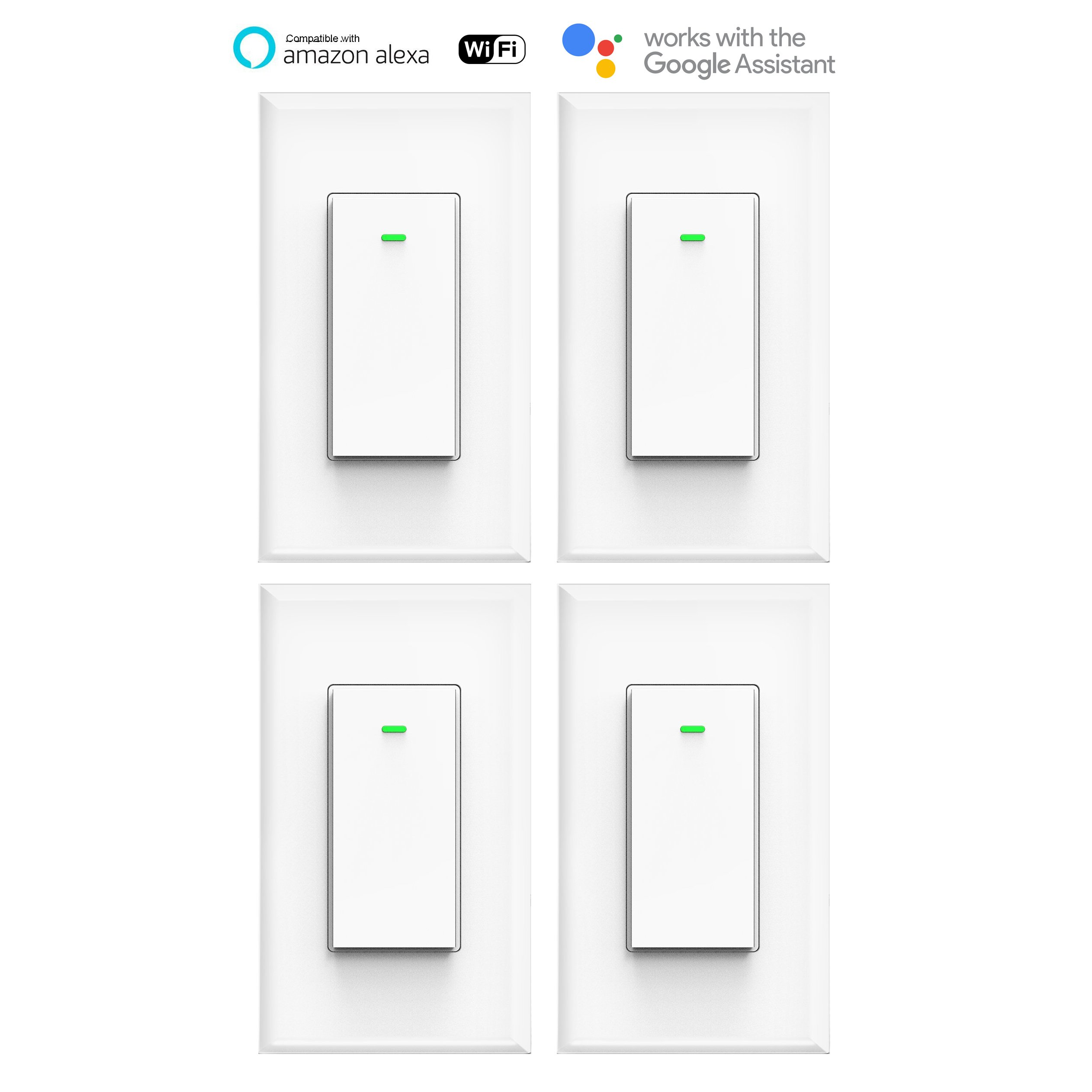 MICMI Smart Light Switch, Compatible with Amazon Alexa Echo, Works with Google Home No Hub Required, Smart Home WiFi Wireless, Remote Control Light Switch Socket, White (Smart Switch 4pack)