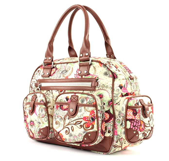 Tropical Birds Carry All Off white OCB9102-0201, Damen Henkeltasche, weiss-braun, (201), 40x16x29 Oilily