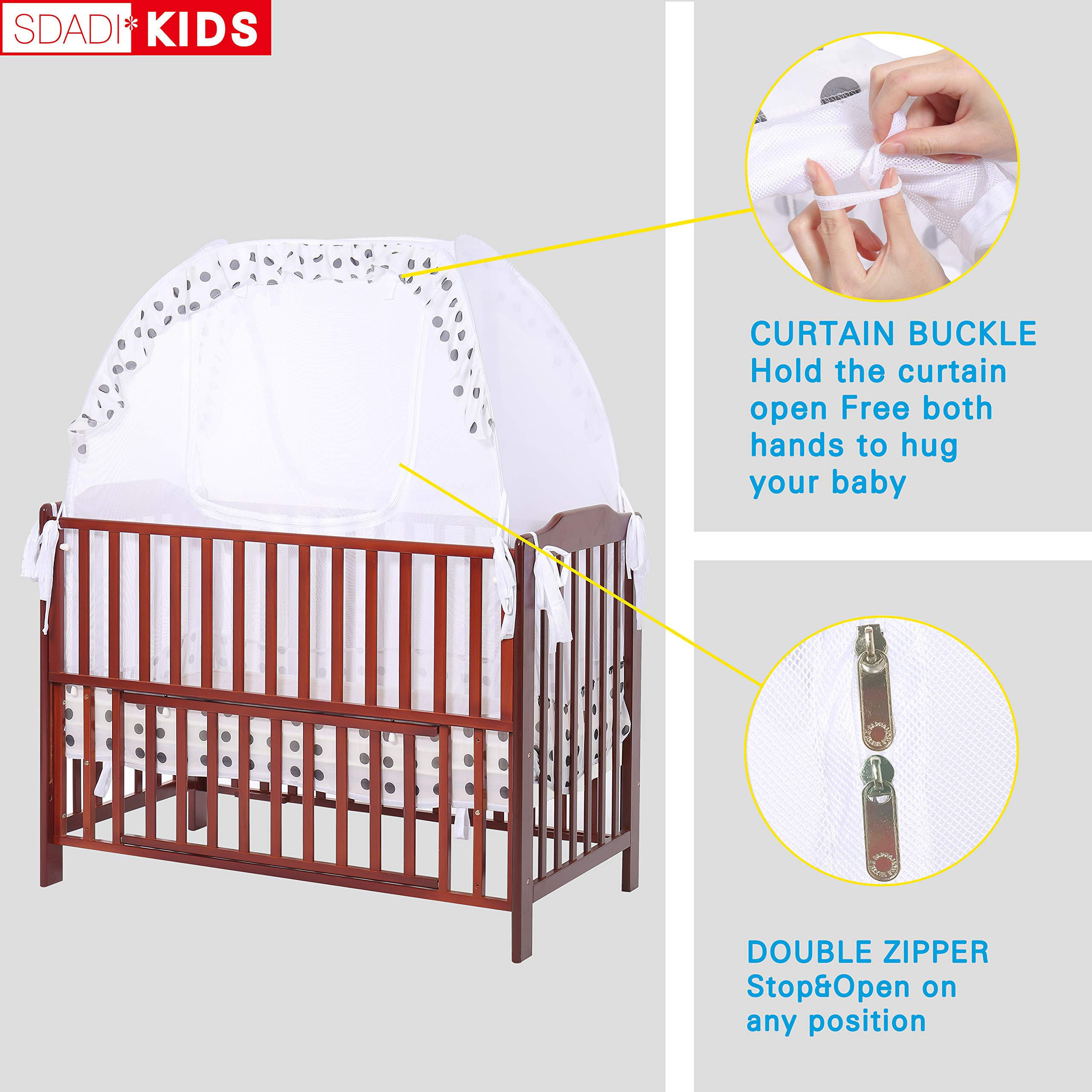 SDADI Baby Crib Safety Tent Pop Up Mosquito Net with Baby Monitor Hang Ribbon,Toddler Bed Canopy Netting Cover |Dots WLCN01D by SDADI (Image #4)