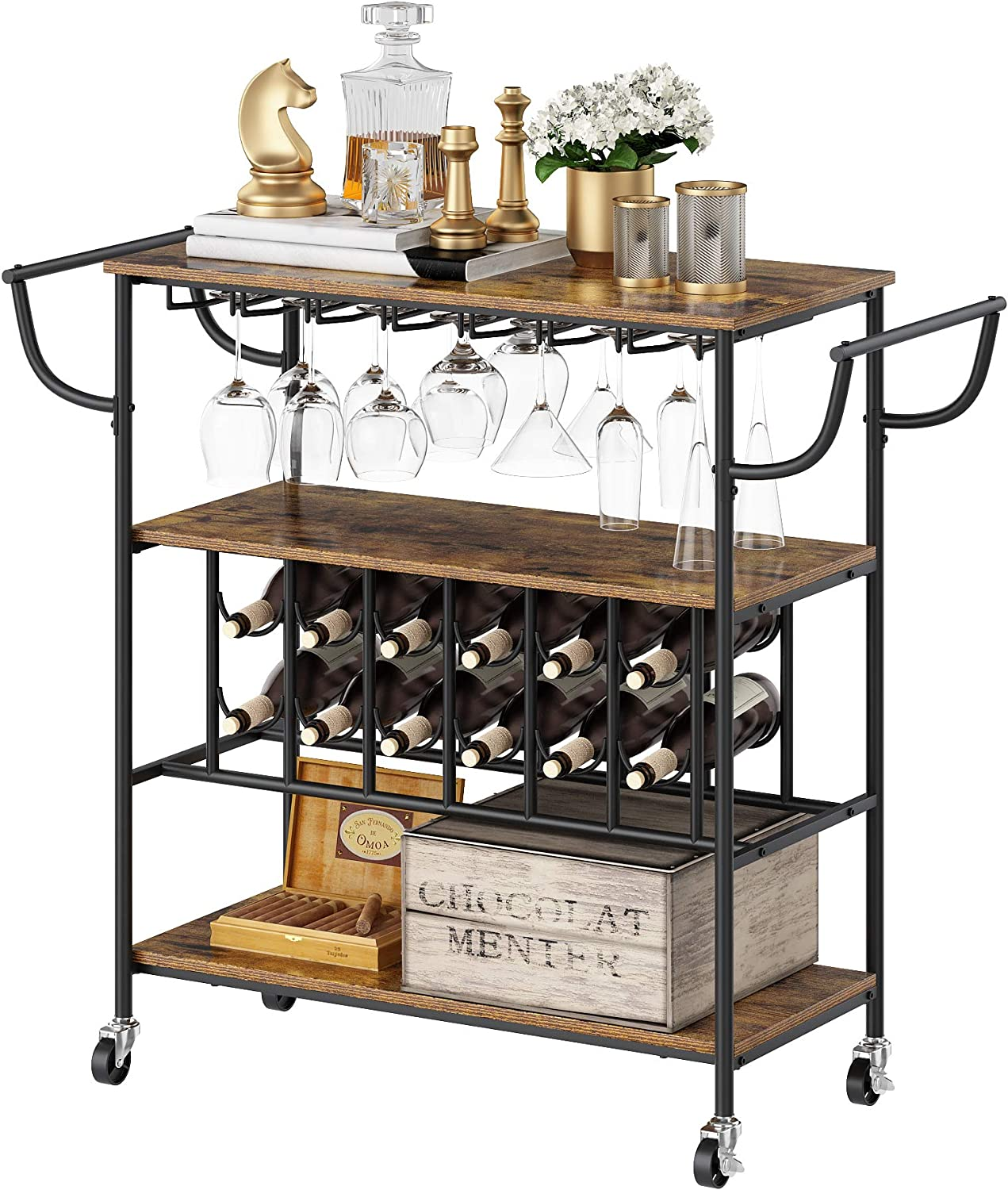 YUSONG Industrial Bar Cart on Wheels for The Home with Wine Rack and Glass Holder,Utility Kitchen Serving Cart and Kitchen Storage Cart with 3 Shelves,Rustic Brown