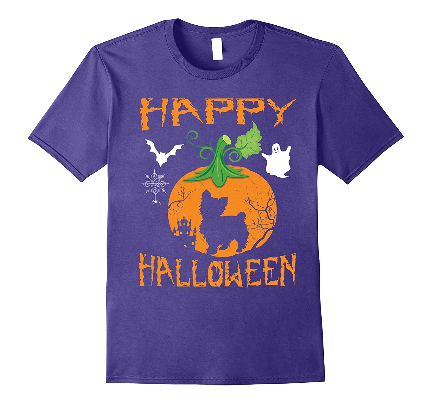 YORKIE POO Dog In Pumpkin Happy Halloween Day Funny T-Shirt-Rose
