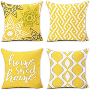 Hexagram Yellow and Grey Pillow Covers 18 x 18, Decorative Yellow Geometric Throw Pillow Covers Set of 4, Linen Home Sweet Home Cushion Case for Sofa Couch Living Room Home Decor