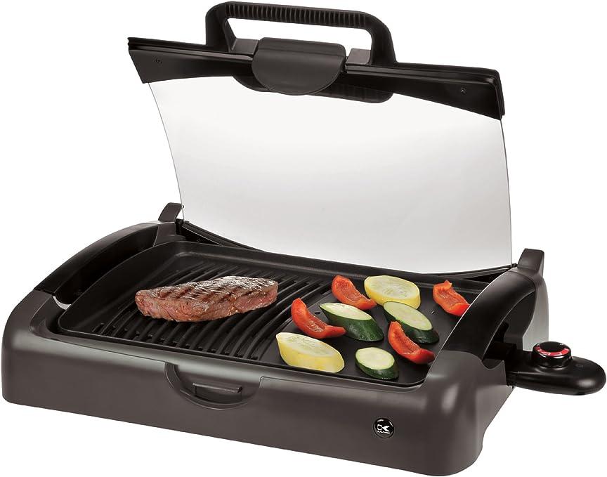 Amazon Com Kalorik Indoor Outdoor Non Stick Portable Grill Black Contact Grills Kitchen Dining