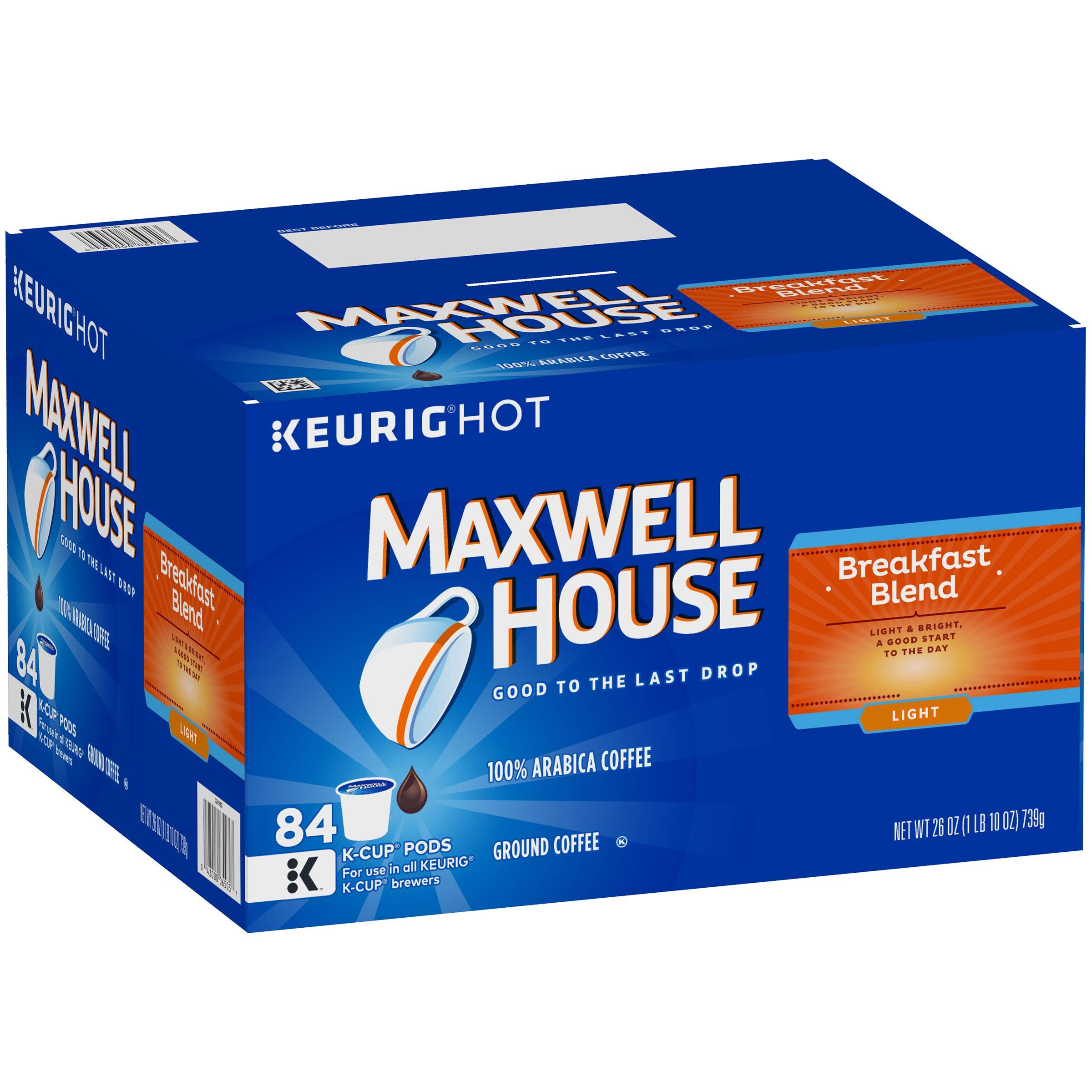 Maxwell House Breakfast Blend Keurig K Cup Coffee Pods, 84 Count