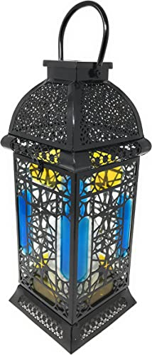 Large Moroccan Solar Powered Outdoor Garden Candle Lantern With Flickering Effect Amazon Co Uk Lighting
