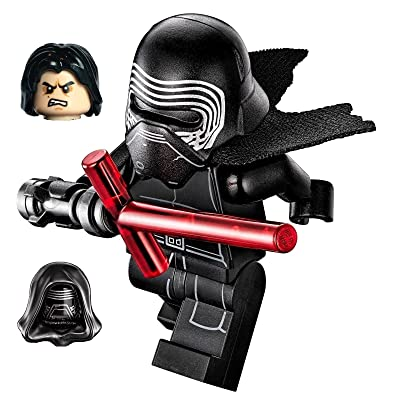LEGO Star Wars Minifigure - Kylo Ren Complete with Helmet, Hood, Hair, Flesh/Black Face with Cross Lightsaber: Toys & Games