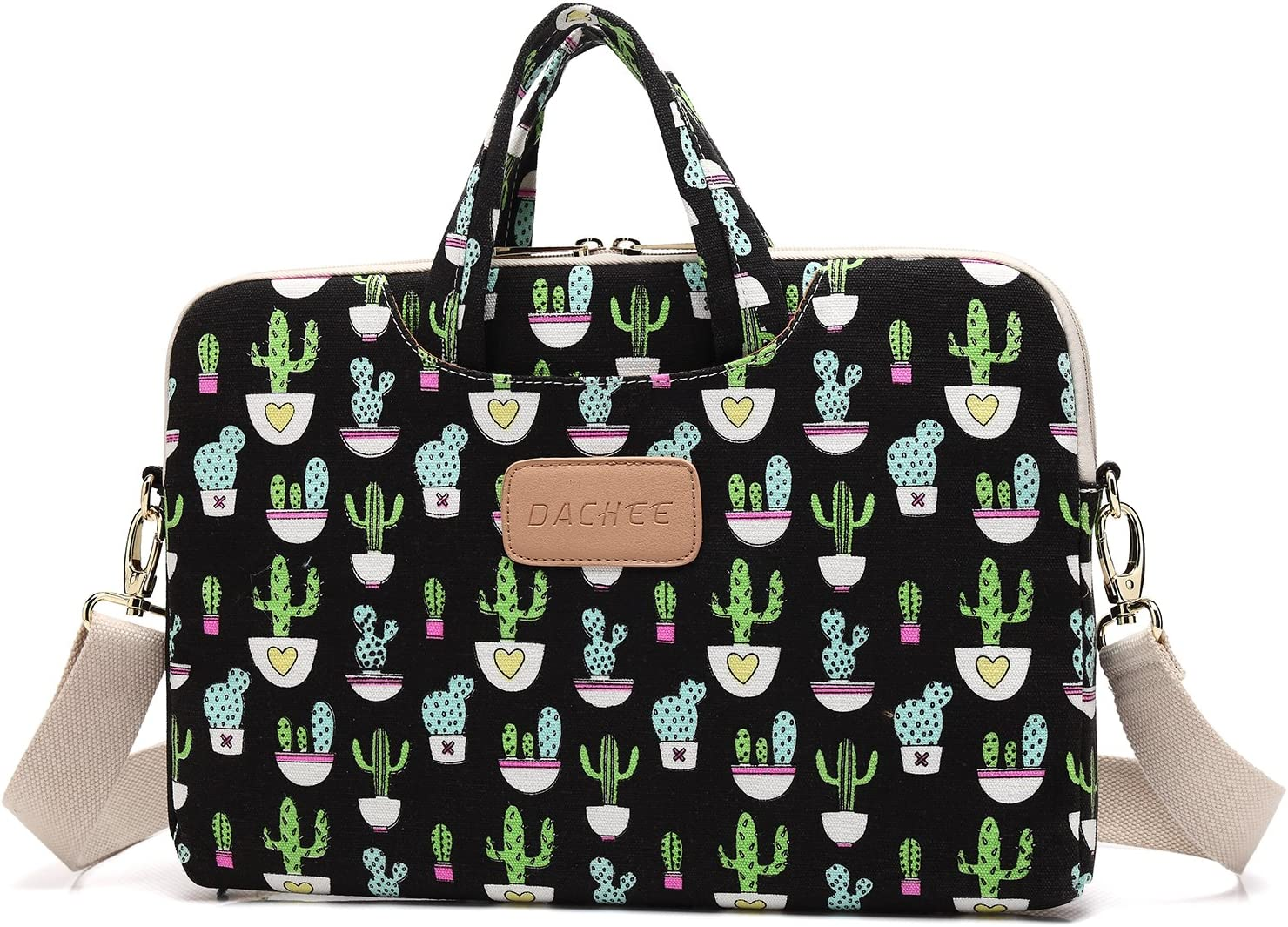 DACHEE Black Cactus Patten Canvas Laptop Shoulder Messenger Bag Case Sleeve for 11 Inch 12 Inch 13 Inch Laptop