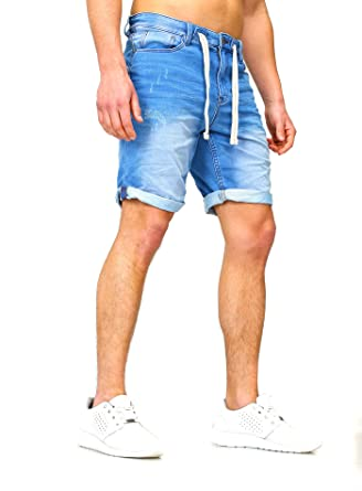 a81a085d21 Sweat Jeans Denim Jogger Shorts Sommer Kurze Hose Sublevel 98-86 dunkelblau  hellblau W29