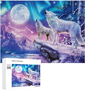Jigsaw Puzzles for Adults 500 Piece - Wolf and Landscape Puzzle with Wooden - 20.5x15 inch, Multicolored
