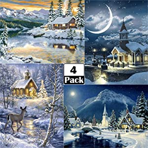 ARTDOT 4 Pack 5D Diamond Painting Kits for Adults Diamond Art Winter by Number Kits Full Drill Crystal Rhinestone Gem Art for Christmas Gift, Home Wall Decor 12x16 inches