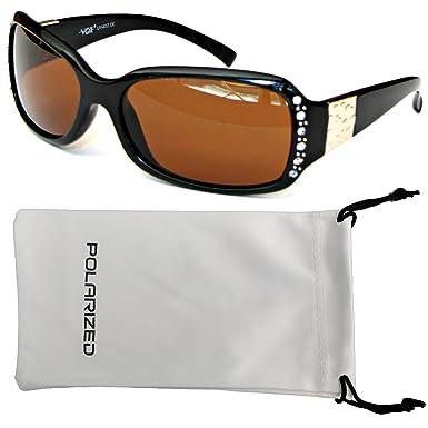 031c9799b0 Vox Women s Polarised Sunglasses Designer Fashion Rhinestone Eyewear –  Black Frame – Amber Lens