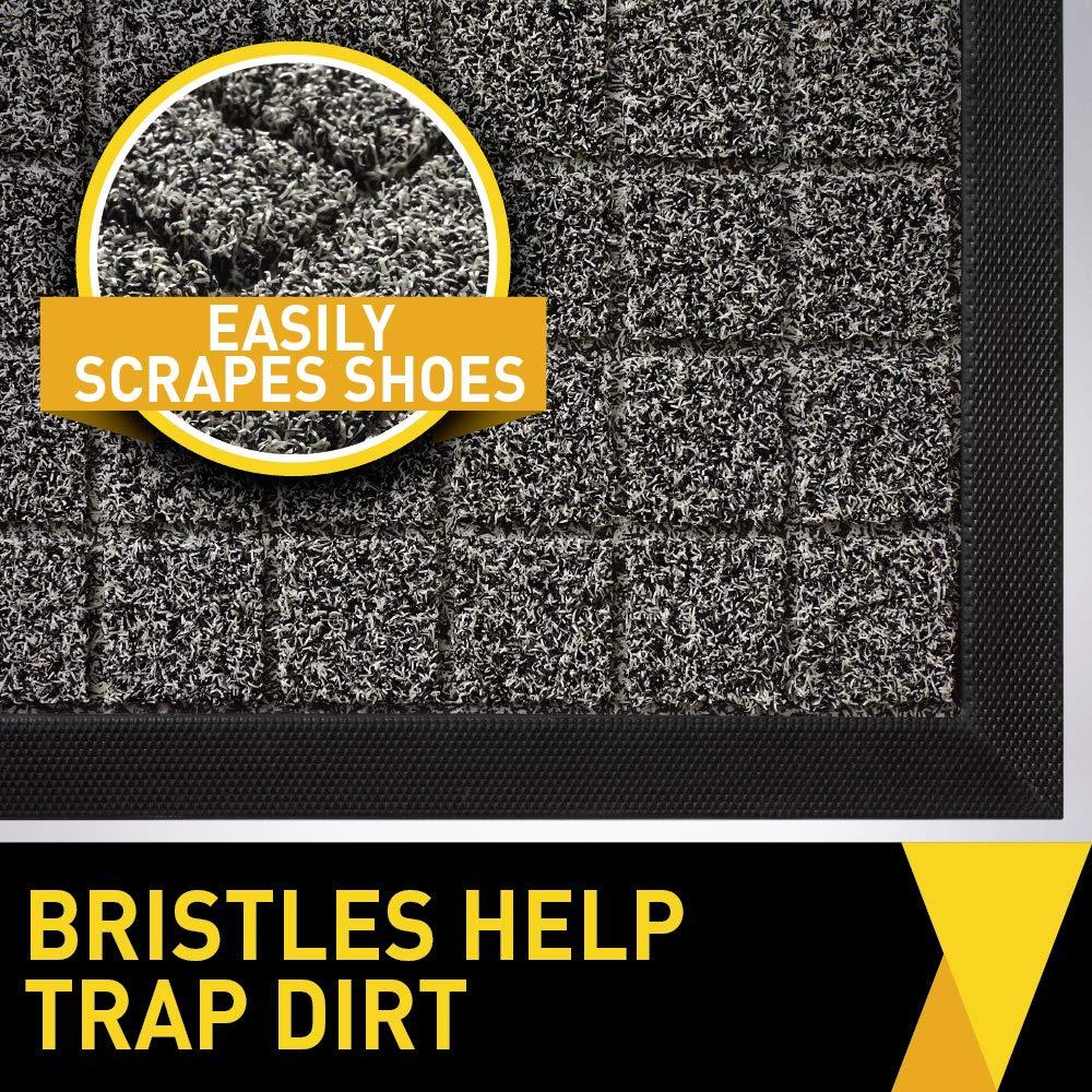 09848ab66a56 Tough All-Natural Rubber Doormats GRIP MASTER Durable Black Lines Boots  Scraper Mats 29x17 Size Entryway ...
