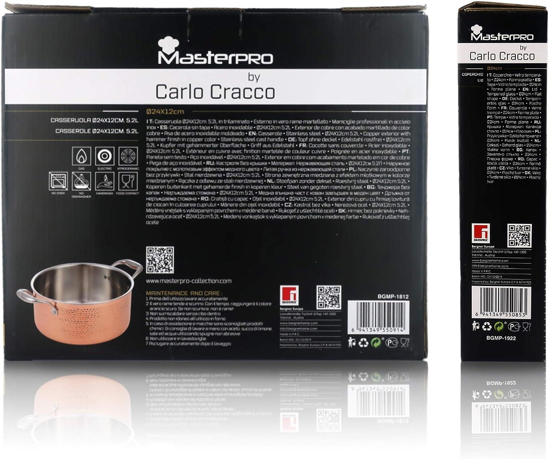 Cracco MasterPro by Carlo Tri-Laminat-Pfanne aus Edelstahl Tiefe: 5 cm /Ø 28 cm 2,6 Liter Aluminium und Kupfer MasterPro by Carlo