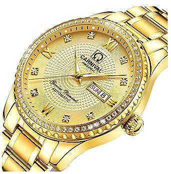 92278b2228e LOREO Mens Diamond Dial Automatic Machine Gold Stainless Steel Sapphire  Glass Waterproof Men s Watch