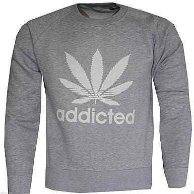 Ladies Girls para Mujer Adicto Sudadera Weed Cannabis Hoja de impresión Jersey Top (Embalado y enviado por Miss Boho Chic-TM) Gris Gris S-M: Amazon.es: Ropa ...
