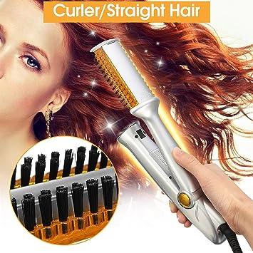 Y.F.M alisador de pelo y rizador de pelo, rizador de pelo de doble uso, plancha giratoria, cepillo de peluquería: Amazon.es: Belleza