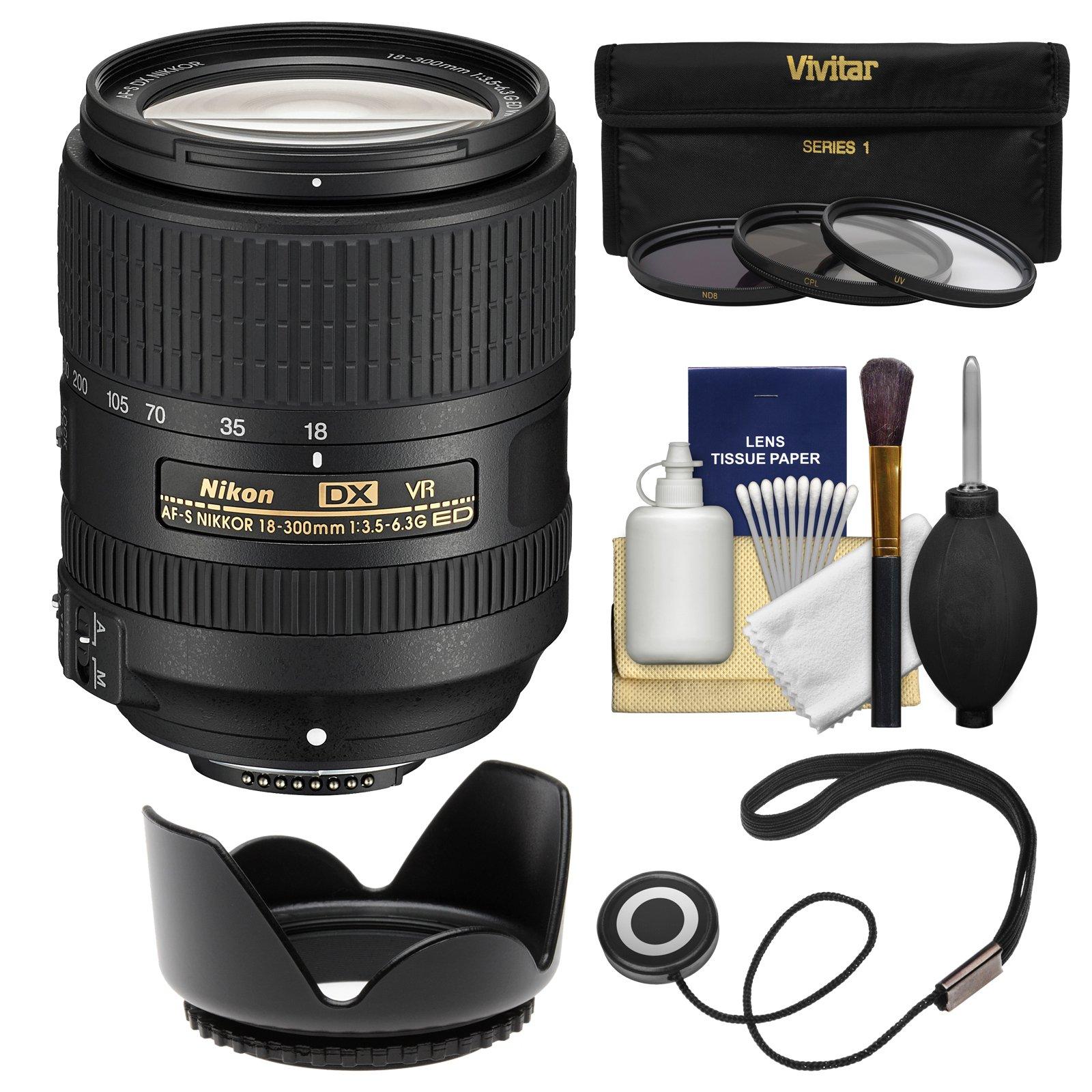 Nikon 18-300mm f/3.5-6.3G VR DX ED AF-S Nikkor-Zoom Lens with 3 UV/CPL/ND8 Filters + Hood + Kit for D3200, D3300, D5300, D5500, D7100, D7200 Cameras