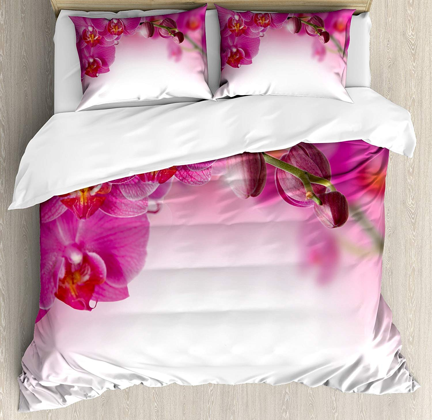 Spa Twin Duvet Cover Sets 4 Piece Bedding Set Bedspread with 2 Pillow Sham, Flat Sheet for Adult/Kids/Teens, Blossoming Orchid Branch Exotic Nature with Feng Shui Elements Spa Zen Garden Botany
