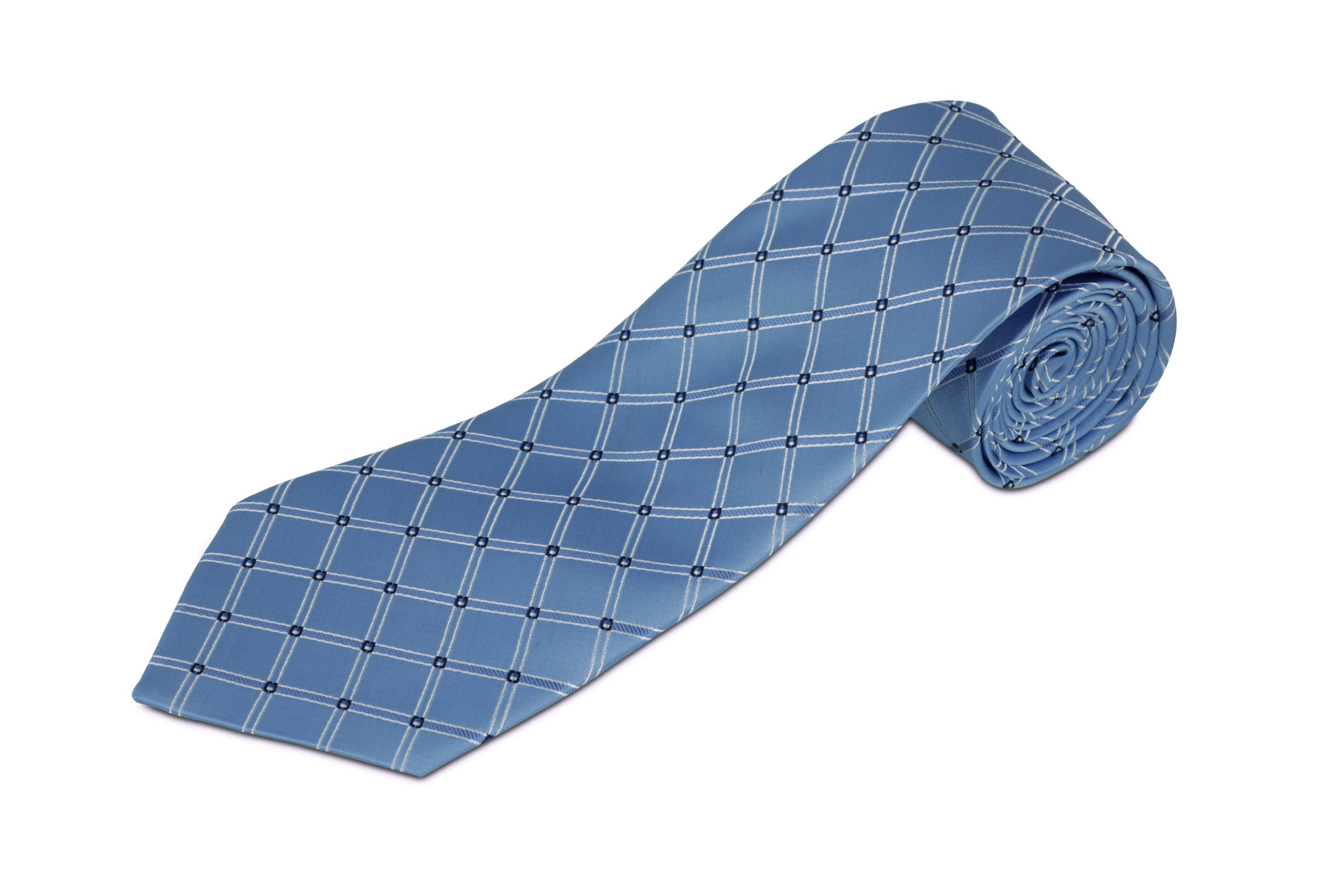 100% Silk Light Blue Diamond Patterned Men's Extra Long Tie (70'' Long)