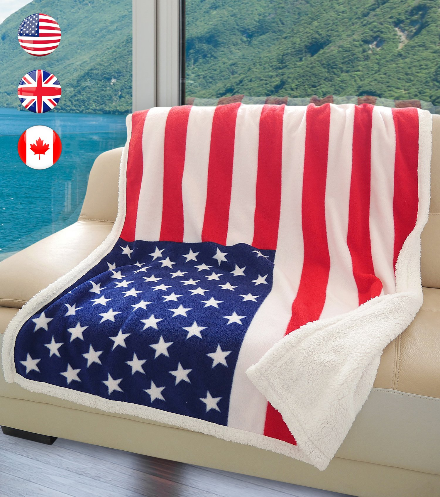 US Flag Patriotic Sherpa Throw Blanket, Super Cozy Fleece Plush Bed Throw TV Blankets Reversible for Bed or Couch 50'' x 60'' | Catalonia series by Terrania | USA Flag