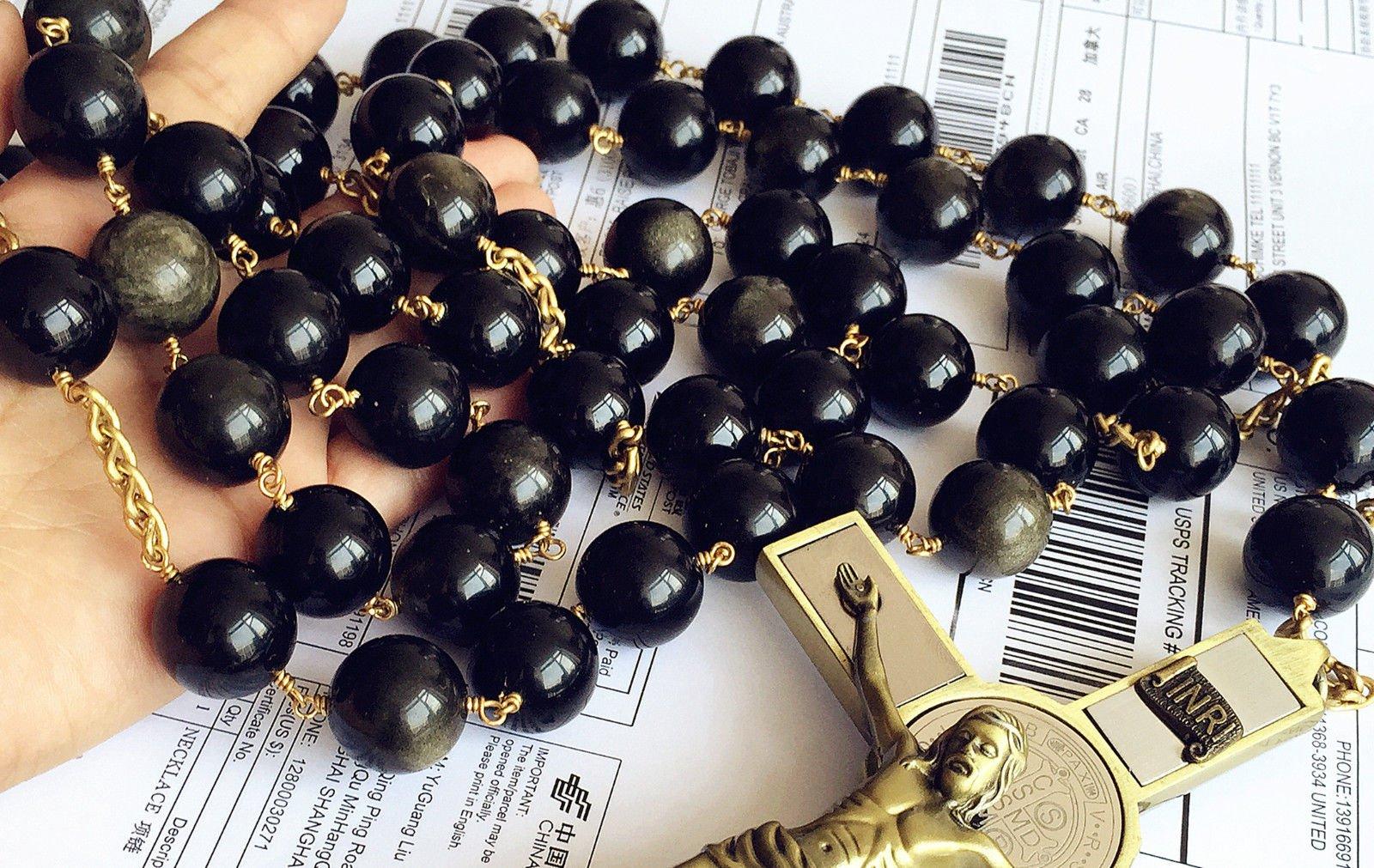 elegantmedical Handmade Large 20MM Black Gold Obsidian Bead Wall Rosary Cross St.Benedict Crucifix Catholic Gift Box by elegantmedical (Image #6)