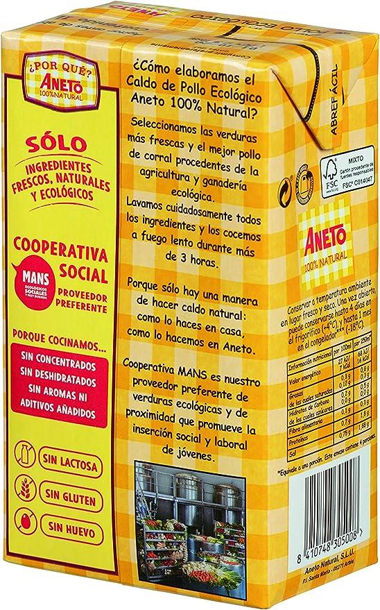 Aneto 100% Natural - Caldo de Pollo Ecológico - caja de 6 unidades ...