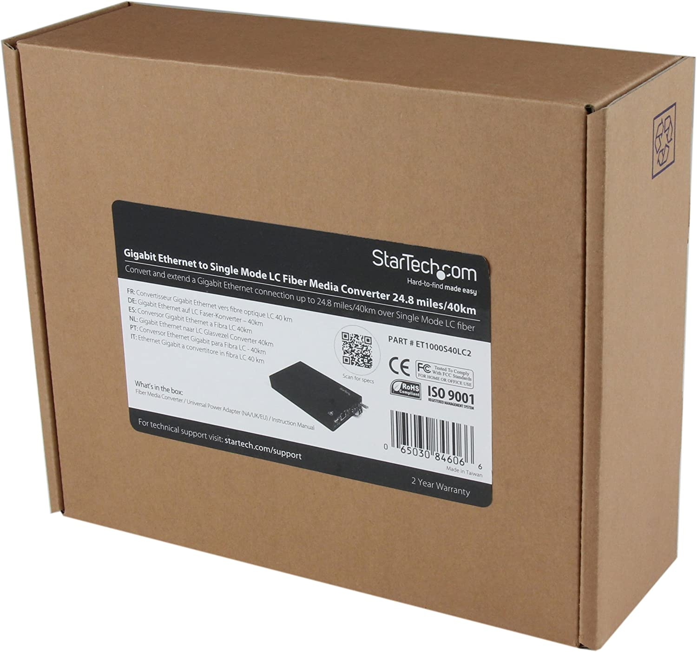 with SFP Transceiver Gigabit Ethernet 20km SM LC Fiber Media Converter for 1Gbe Network StarTech.com Singlemode 1310nm ET91000SM20