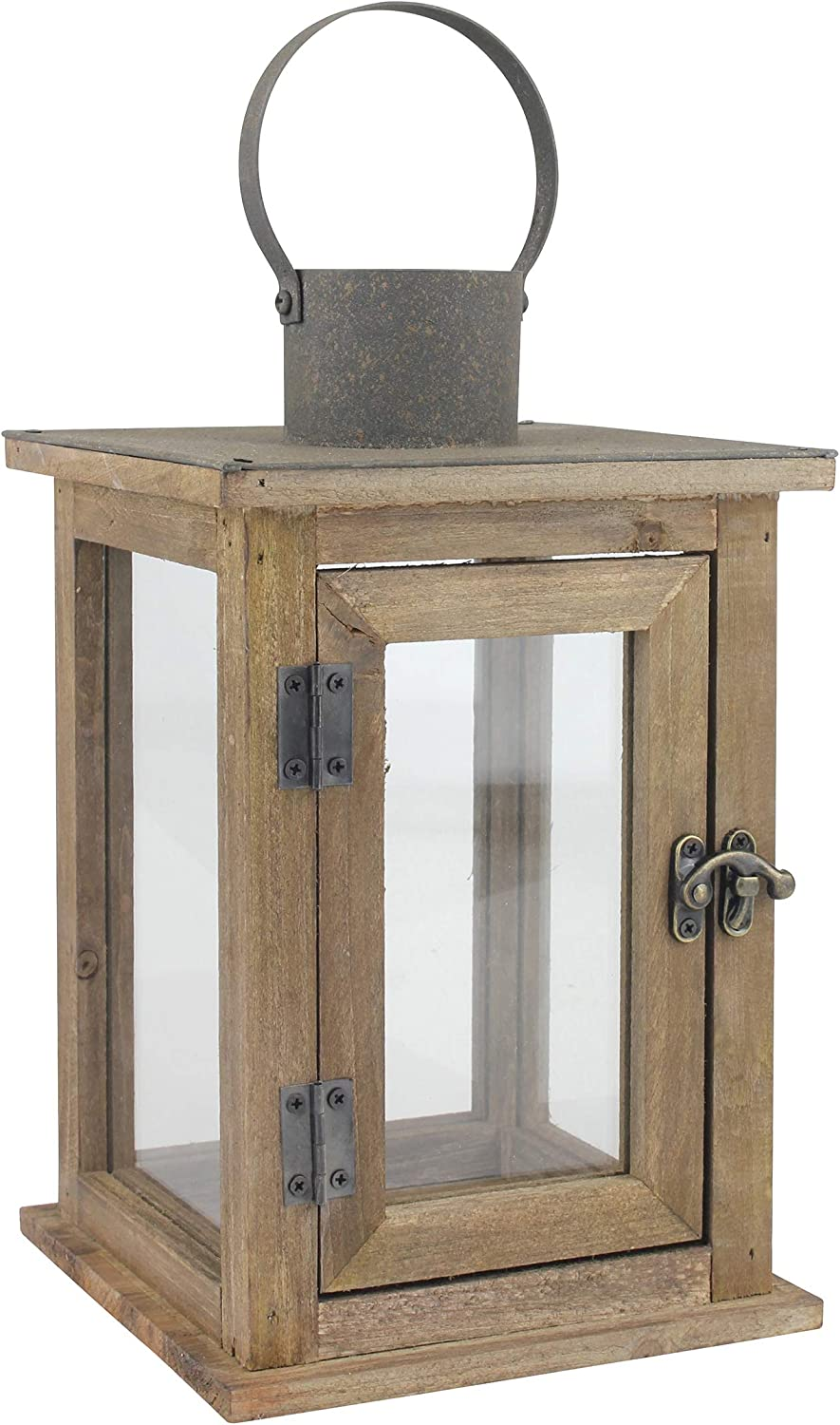 "Stonebriar Decorative 11"" Wooden Candle Lantern, Medium, Brown"