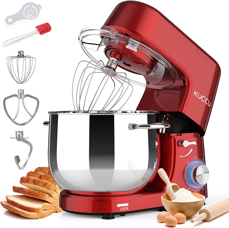 KUCCU Stand Mixer, 8.5 Qt 660W, 6-Speed Tilt-Head Food Dough Mixer, Electric Kitchen Mixer with Dough Hook, Flat Beater & Wire Whisk, Mixing Bowl (8.5-QT, Red)