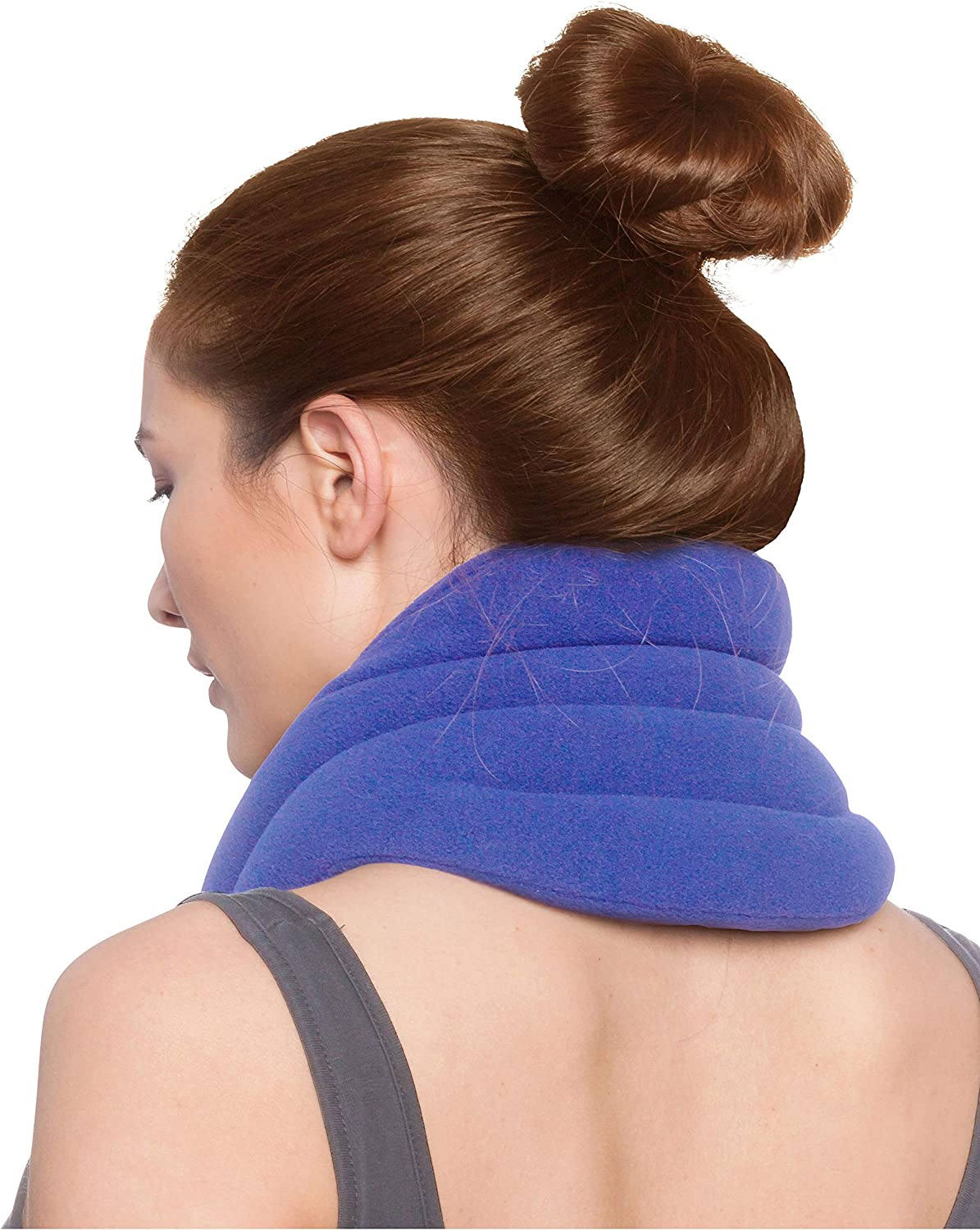 Sunny Bay Hands-Free Neck Heating Wrap: Microwavable Thermal Hot Pack, Heat Therapy Neck Brace for Sore Neck & Shoulder Muscle Pain Relief - Personal, Reusable, Blue (XL SkyBlue)