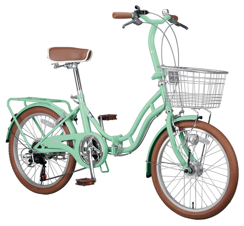 キャプテンスタッグ(CAPTAIN STAG) ホワイトニングバレイ 20インチ 折りたたみ自転車 FDB206 [ シマノ6段変速 / LEDオートライト / リング錠 / リアキャリア / 前後泥よけ ]標準装備 B00XRT3RY2 グリーン グリーン