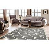 """Ottomanson Paterson Collection Contemporary Moroccan Trellis Design Lattice Area Rug, 94"""" W, Grey"""