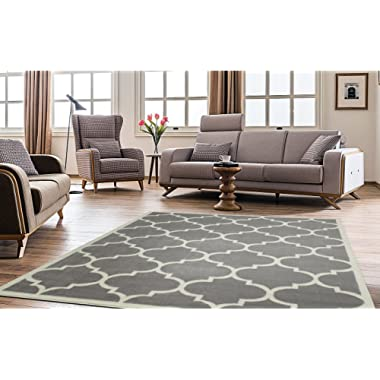 Ottomanson Paterson Collection Contemporary Moroccan Trellis Design Lattice Area Rug, 94  W, Grey