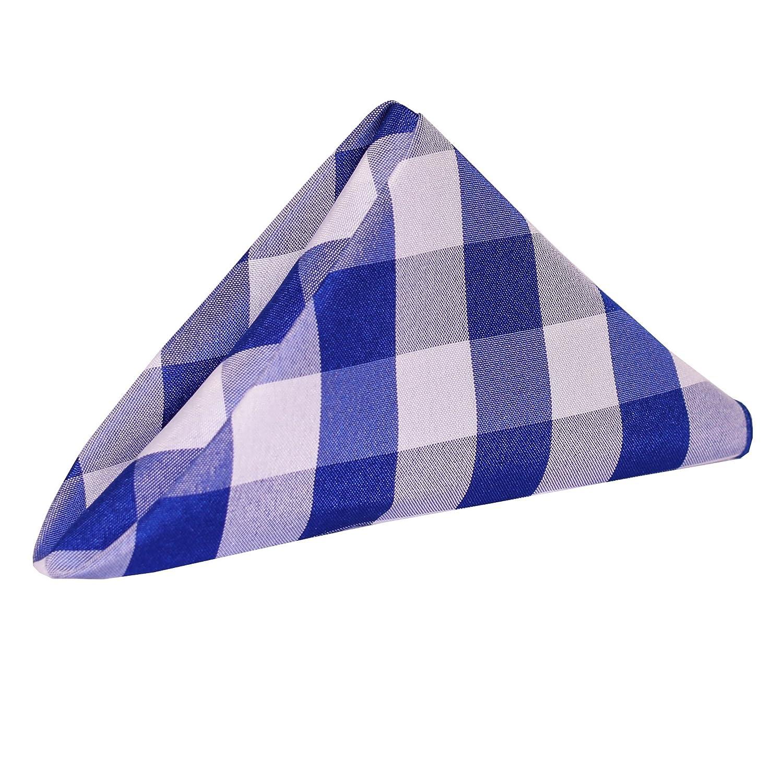 究極Textile 20 x 20インチポリエステルチェック模様布Dinner Napkins (1ダース) 5 Dozen ブルー 5PKE-20X20-262 5 Dozen Royal & White B0796GZRL6