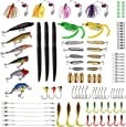PLUSINNO Fishing Lures Baits Tackle Including Crankbaits, Spinnerbaits, Plastic Worms, Jigs, Topwater Lures , Tackle Box and More Fishing Gear Lures Kit Set, 102/67/27Pcs Fishing Lure Tackle