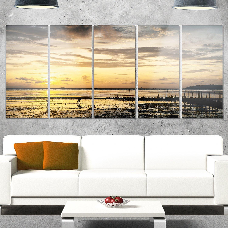 Designart Dawn At Seaside During Low Tide Modern Seashore Glossy Metal Wall Art 28 H X 60 W X 1 D 5pe Grey Home Kitchen Wall Art