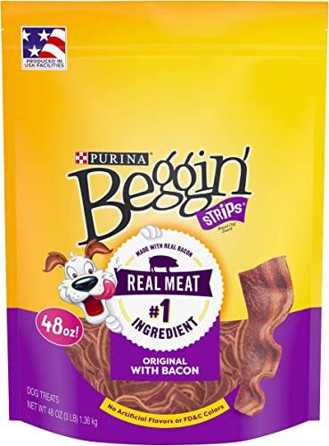 Purina Beggin Strips Made in USA Facilities Dog Training Treats, Original With Bacon – 48 oz. Pouch, Model 00038100180247