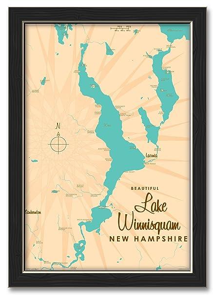 Amazon.com: Northwest Art Mall Lake Winnisquam New Hampshire Map ...
