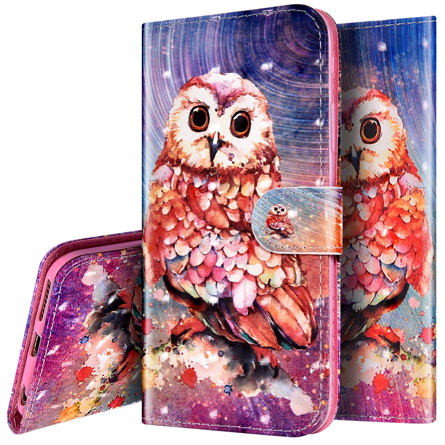 PHEZEN Case for Moto G6 Wallet Case,3D Bling PU Leather Folio Flip Case Full Body Protective Phone Case Cover with Kickstand Credit Card Wrist Strap for Moto G6 - Owl by PHEZEN