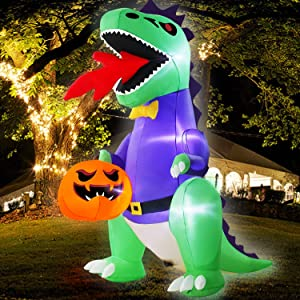 TURNMEON 8Ft Halloween Inflatables Blow up Dinosaur Fire Breathing Hold Ghost Pumpkin LED Lighted Halloween Decoration Outdoor Indoor Yard Lawn Garden Home Party Decor with Tether Stakes