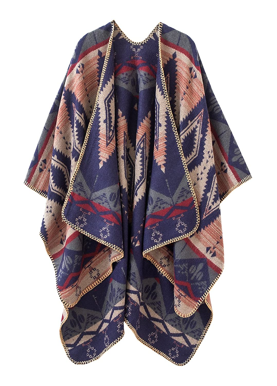 397dfba9963e Urban CoCo Women's Color Block Shawl Wrap Open Front Poncho Cape (Navy  blue) at Amazon Women's Clothing store: