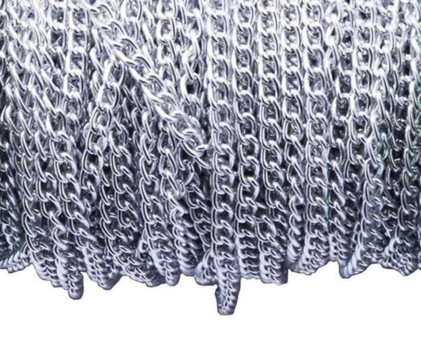 11 Yards 4.5mm Width Aluminum Curb Chain Link - Silver Twisted Cross Cable Jewelry Making Chains for DIY Jewelry Making Supplies Necklace Accessories - NO Fade Numblartd