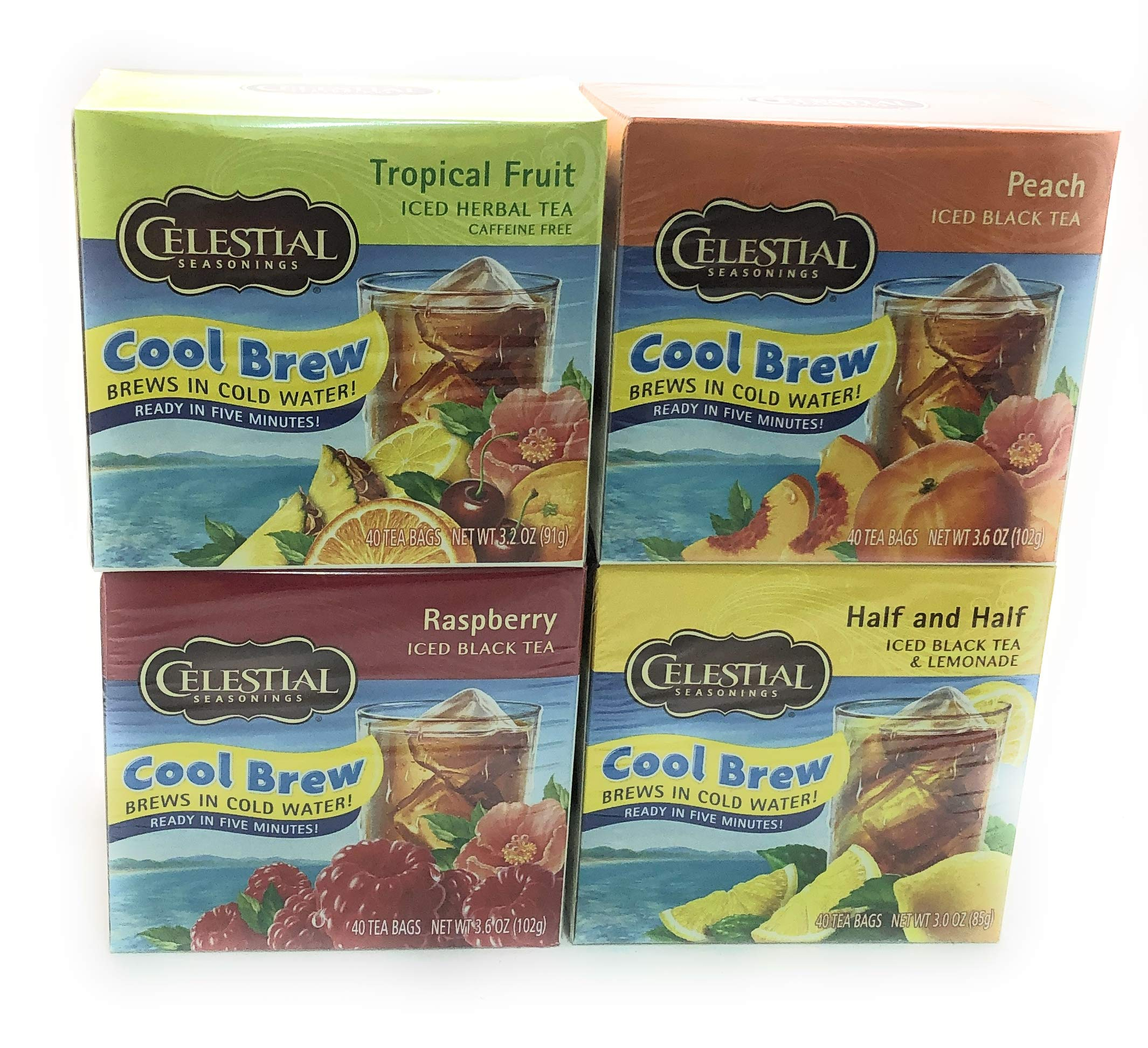 Celestial Cool Brew Variety Pack of Tropical Fruit, Raspberry, Peach, and Half Black Iced Tea & Half Lemonade