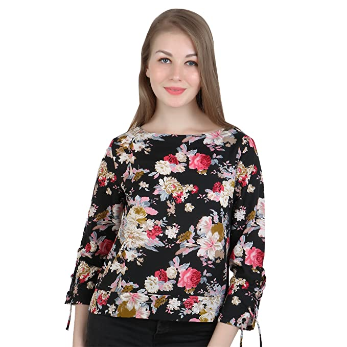 6c98bdf3656 EVES PRET A PORTER Black Colour Casual Top for Women with Floral Print and  3 4 Sleeves with Drawstrings  Amazon.in  Clothing   Accessories