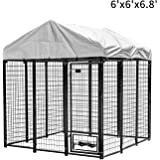 PUPZO Welded Wire Dog Kennel,Outdoor Heavy Duty Pet Cage with UV Protection and Waterproof Trap Cover Automatic Lock Rotatable Window 2 Stainless Steel Bowls