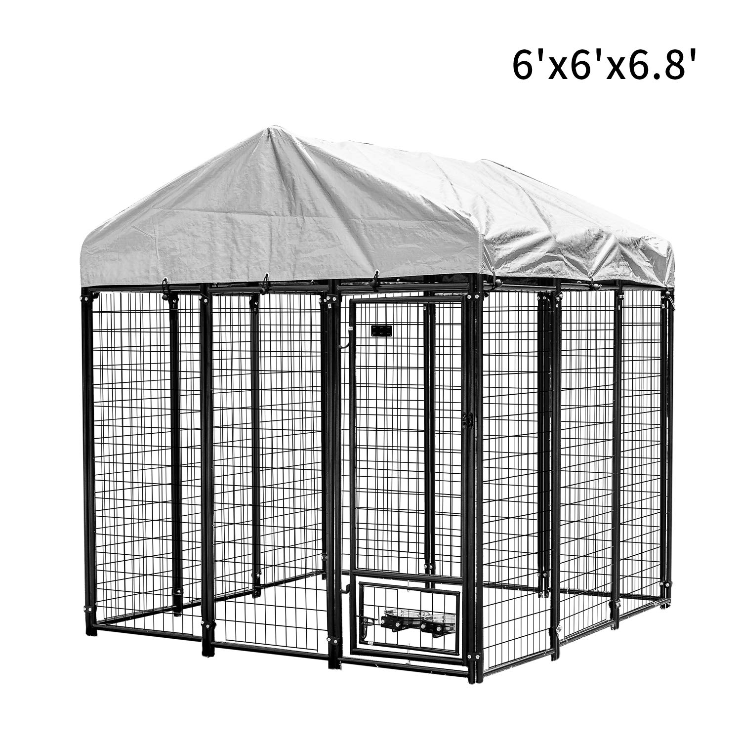 Pupzo Welded Wire Dog Kennel,Outdoor Heavy Duty Pet Kennel with UV Protection and Waterproof Trap Cover Automatic Lock Rotatable Window 2 Stainless Steel Bowls Black (6'x6'x6.8') by Pupzo