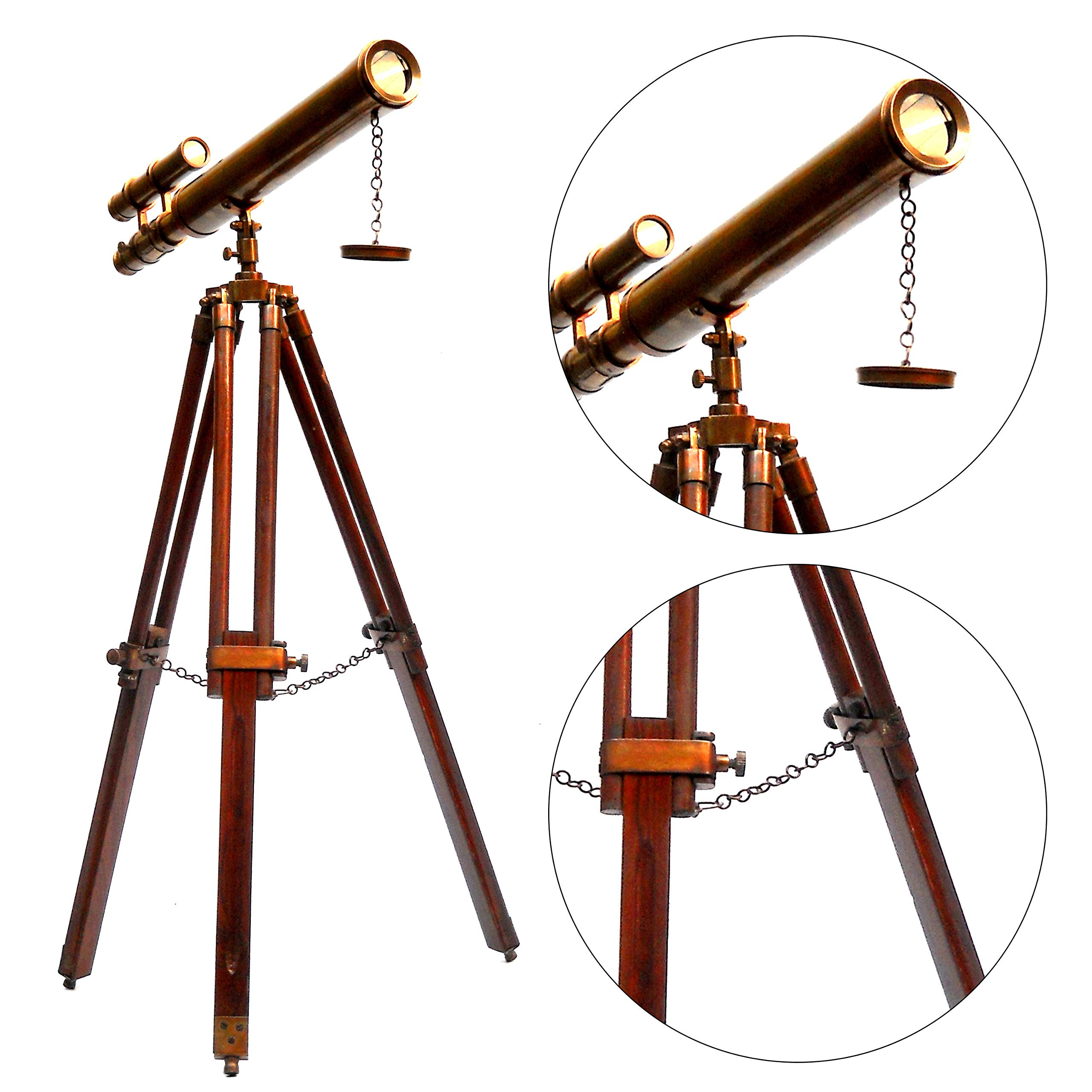 Antique Marine Wooden Tripod Telescope Vintage Handmade Double Barrel Handicraft Article - Collectible by Collectibles Buy